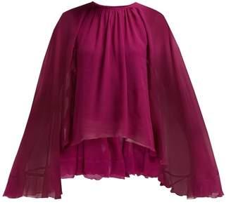 Giambattista Valli Cape Sleeve Silk Georgette Blouse - Womens - Dark Pink