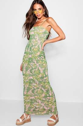 boohoo Palm Print Square Neck Maxi Dress