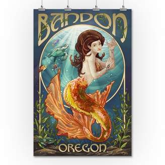 Bandon, Oregon - Mermaid - Lantern Press Artwork (36x54 Giclee Gallery Print, Wall Decor Travel Poster)