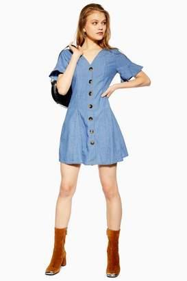 Topshop Light Denim Horn Button Dress