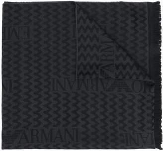 Emporio Armani zig-zag logo knit scarf