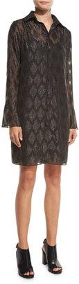 MICHAEL Michael Kors Long-Sleeve Diamond Jacquard Shirtdress, Black $275 thestylecure.com