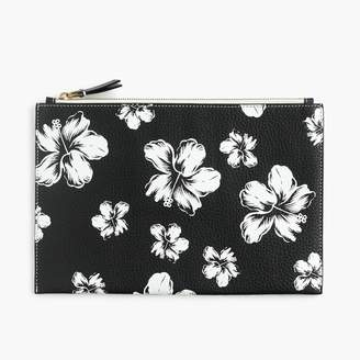 J.Crew Large pouch in floral printed Italian leather
