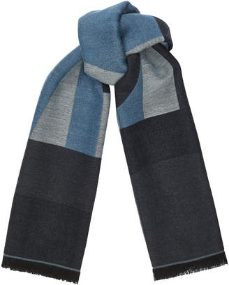 Jimmy Choo JUDE Sky Grey Wool Branded Scarf