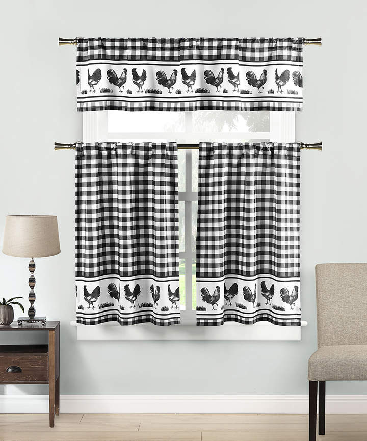 Black & White Helen Three-Piece Curtain Panel Set