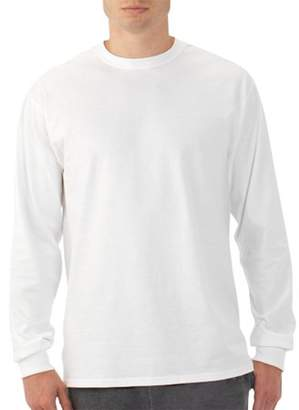 Fruit of the Loom Platinum Eversoft Men's Long Sleeve Crew T Shirt with Rib Cuffs, up to Size 4XL