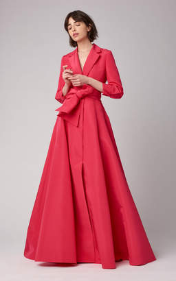Carolina Herrera Notched Lapel Crepe Trench Gown