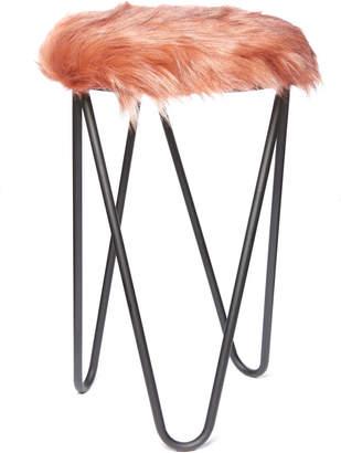 Dusty Pink Faux Fur Stool