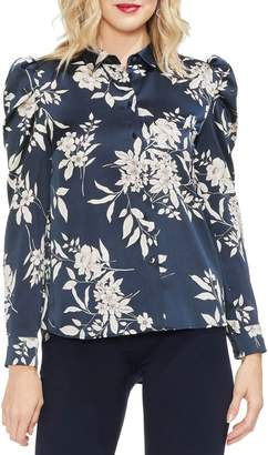 Vince Camuto Etched Bouquet Puff Shoulder Blouse