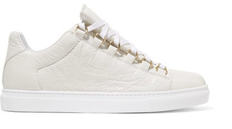 Balenciaga - Arena Crinkled-leather Sneakers - White $495 thestylecure.com