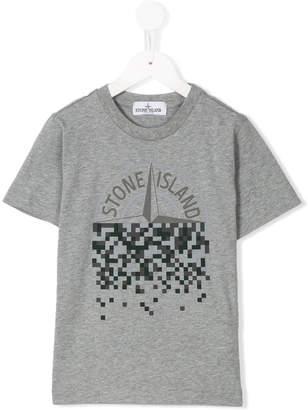 Stone Island Junior pixelated logo T-shirt