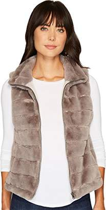 True Grit Dylan by Women's Striped Faux Fur Love Zip Vest with Lining and Pockets