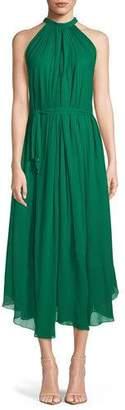 Saloni Iris Sleeveless Halter A-Line Dress