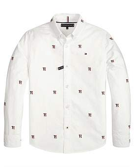 Tommy Hilfiger Allover Tommy Oxford L/S Shirt (Boys 8-14 Years)