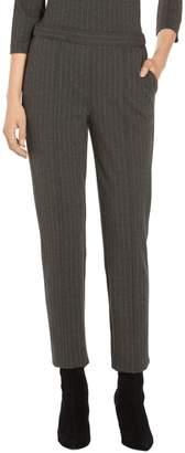 St. John Pinstripe Doubleface Jersey Skinny Cropped Pant