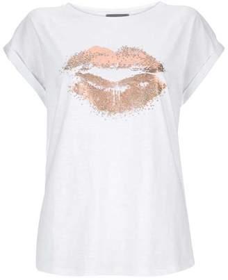 Mint Velvet Ivory Embellished Lips T-Shirt