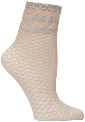 Emilio Cavallini Metallic Striped Diamond Net Socks