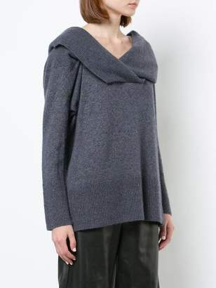 ADAM by Adam Lippes Brushed Cashmere Off-The-Shoulder V-Neck Sweater