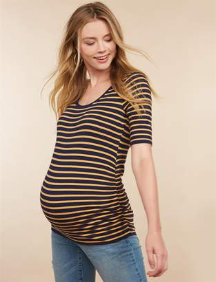 Motherhood Maternity Side Ruched Elbow Sleeve Maternity T Shirt
