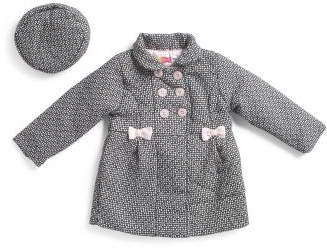 Little Girls Bow Detail Wool Coat With Matching Beret