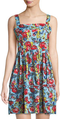 Romeo & Juliet Couture Square-Neck Floral Fit-&-Flare Tank Dress
