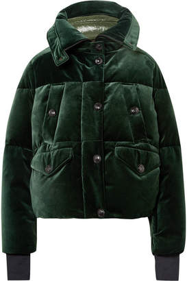 Moncler Loye Quilted Velvet Down Jacket - Dark green