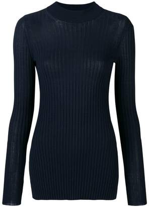 Max Mara 'S ribbed side slit mock neck sweater