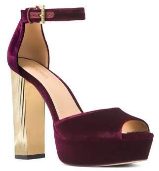 MICHAEL Michael Kors Women's Paloma Velvet High Heel Platform Sandals