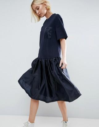 ASOS White ASOS WHITE Drop Waist T-Shirt Dress With Satin Contrast $98 thestylecure.com