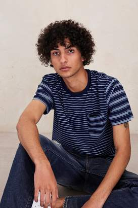 French Connection Block Patchwork Indigo Striped T-Shirt