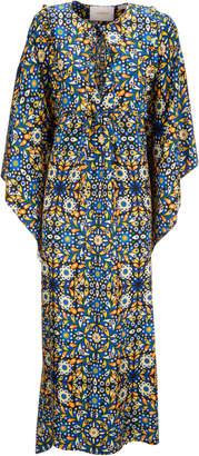 La DoubleJ Talitha Printed Silk Crepe De Chine Kaftan