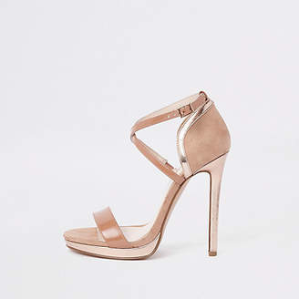 River Island Beige barely there platform sandals