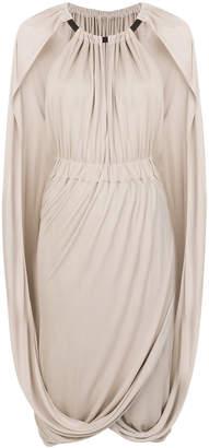 Alberta Ferretti ruched cape dress