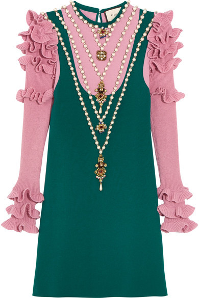 Gucci - Embellished Wool-blend Mini Dress - Teal