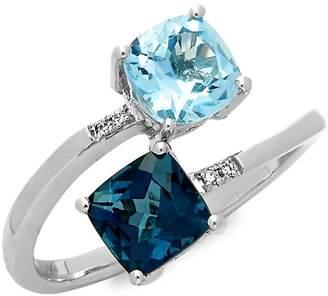 LeVian Le Vian Women's 14k Vanilla Gold Deep Sea Blue Topaz, Sky Blue Topaz & Vanilla Diamonds Ring