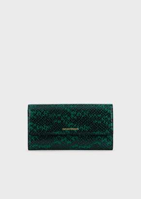 Emporio Armani Lizard-Print Leather Wallet With Flap
