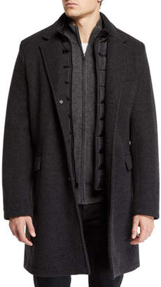 Andrew Marc Men's Car Coat with Removable Puffer Bib