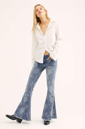 We The Free Denim Super Flare Printed Jeans