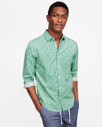 Express Slim Soft Wash Green Floral Button-Down Shirt
