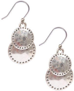 Lucky Brand Silvertone Double Drop Earrings