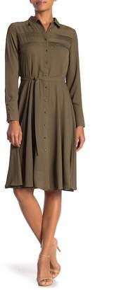 Nanette Lepore NANETTE Belted Crepe Shirt Dress