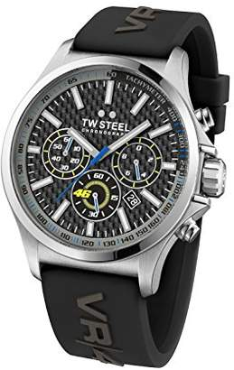 TW Steel Vr46 Unisex Quartz Watch with Grey Dial Chronograph Display and Grey Silicone Strap TW938