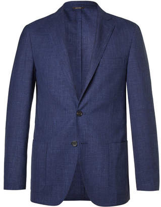 Loro Piana Blue Mélange Virgin Wool, Silk And Linen-Blend Blazer