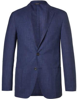 Loro Piana Blue Mélange Virgin Wool, Silk and Linen-Blend Blazer