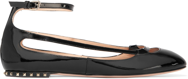 Valentino Studded cutout patent-leather ballet flats