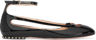 Valentino Studded cutout patent-leather ballet flats $845 thestylecure.com