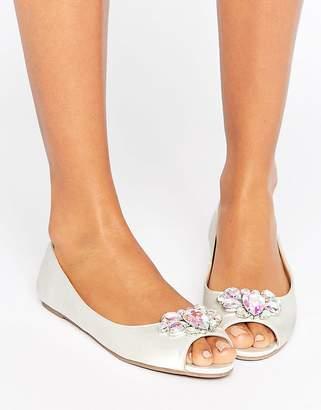 Asos Ladybug Bridal Embellished Peep Toe Ballet Flats