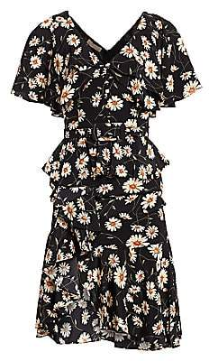 Michael Kors Women's Daisy Crepe De Chine Cascade Ruffle Belted Dress - Size 0