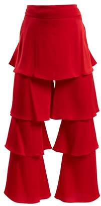 Osman Felix Tiered Satin Trouser - Womens - Red