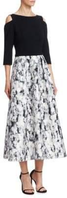 Theia Cold-Shoulder Midi Tea Dress